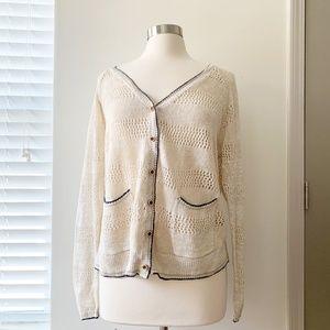 Lucky Brand Cardigan Knit 1x PLUS Ivory